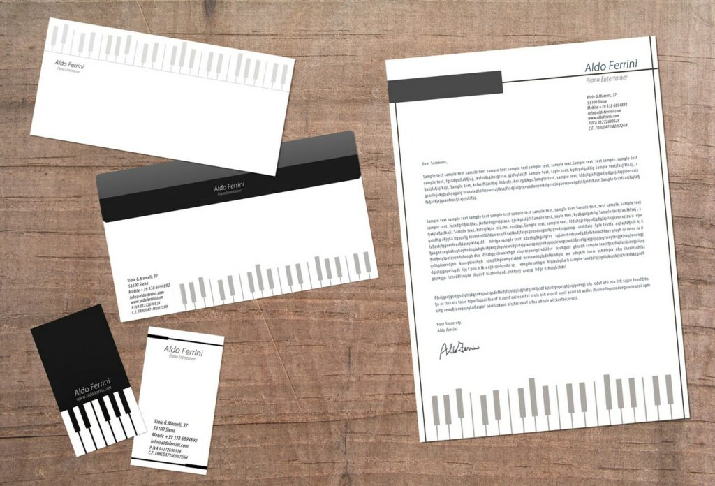 creative business card envelope and letterhead design for musician