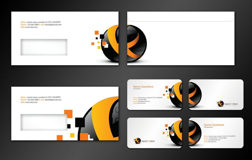 marketing consulting company business card envelope design