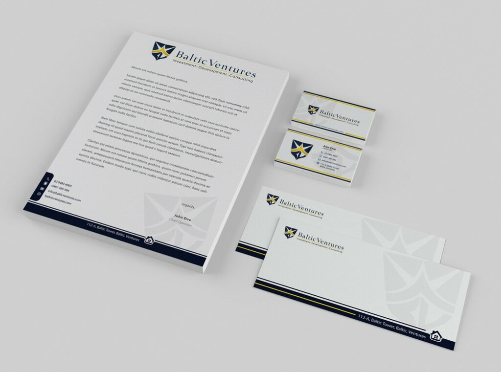 venture firm stationery design